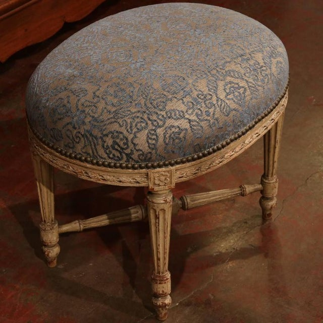 19th Century French Louis XVI Carved Painted Stool For Sale In Dallas - Image 6 of 7