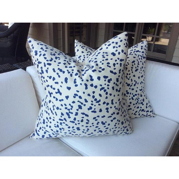 "Peter Fasano ""Double Dotty"" Cobalt Pillows - a Pair For Sale - Image 4 of 6"