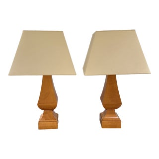 Baker Furniture Company Yew Wood Balustrade Lamps - a Pair For Sale