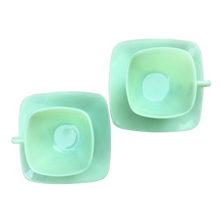 Fire King Anchor Hocking Square Jadeite Tea Cups and Saucers - A Pair For Sale