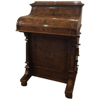 19th Century English Traditional Walnut Davenport Desk For Sale