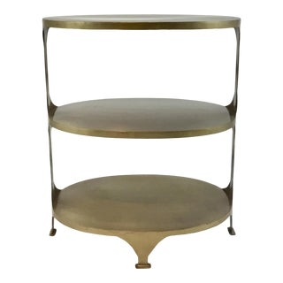 Antique Brass Iron Oval Shelf For Sale