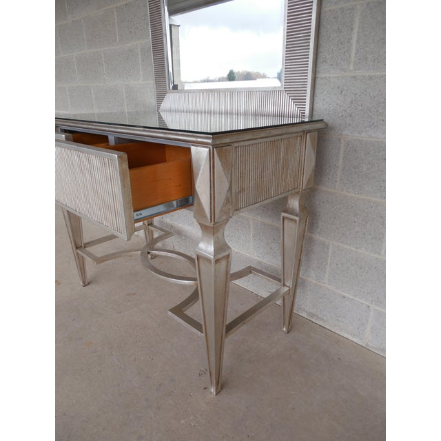 Silver Friedman Brothers Hollywood Regency Silver Gilt Console & Mirror For Sale - Image 8 of 11