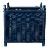 Image of Extra Large Wicker Box Planter in Navy For Sale
