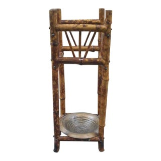 Antique Rustic Bamboo Umbrella Stand For Sale