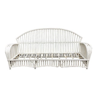 Classic Vintage Painted Rattan Sunroom Sofa For Sale