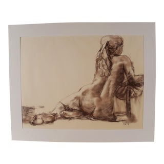 Female Nude Pastel Drawing Signed Dated 1989 For Sale