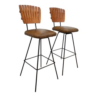 Arthur Umanoff Wood Slat Backs Swivel Bar Stools - a Pair