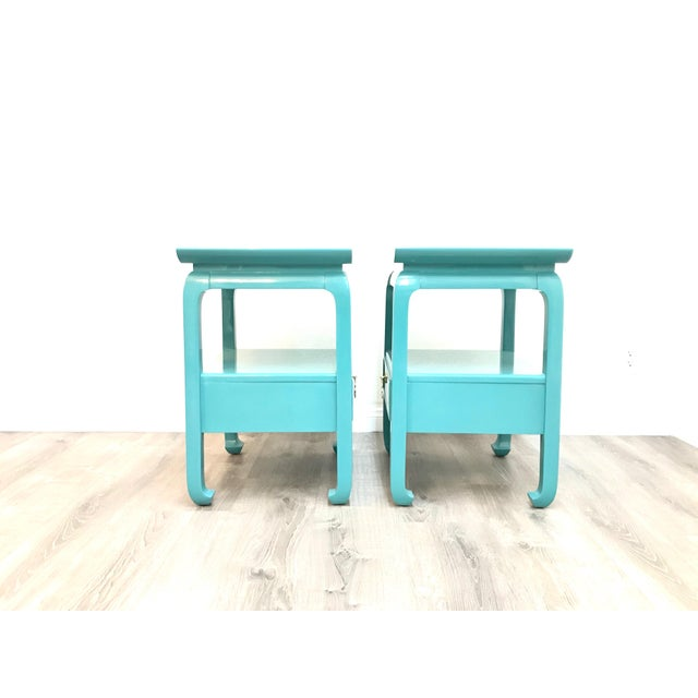 Campaign Kent Coffey Turquoise Lacquered End Tables - A Pair For Sale - Image 3 of 12