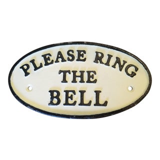 Vintage Cast Iron Please Ring the Bell Sign For Sale