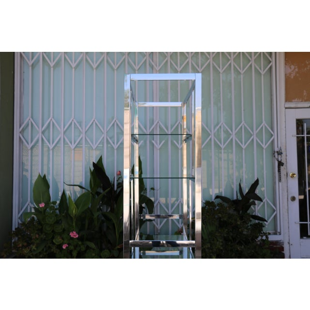 Silver Chrome Modern Etagere For Sale - Image 8 of 11