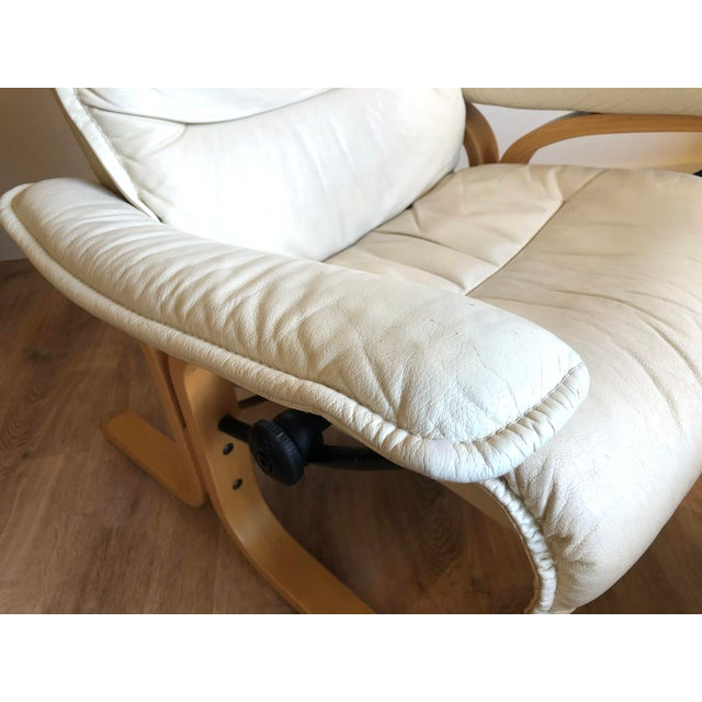 Ingmar Relling for Ekornes Vintage Leather Siesta Recliner Chair With Ottoman For Sale In Seattle - Image 6 of 9