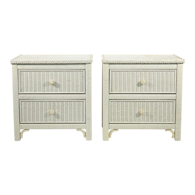 Henry Link Two Drawer Wicker Side Tables - a Pair For Sale