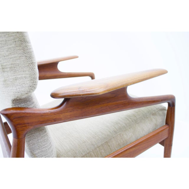 Pair of Reclining Teak Lounge Chairs by John Boné, Denmark 1960s For Sale - Image 6 of 11