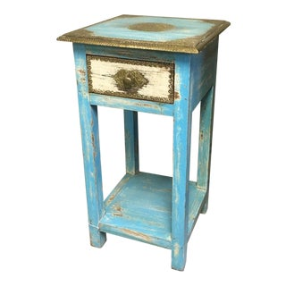 Boho Chic Tall Square Nightstand With Intricate Brass Detailing For Sale