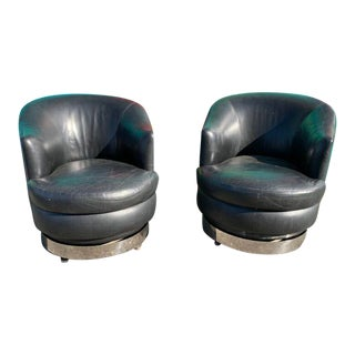 A. Rudin Leather Swivel Tilt Back Lounge Chairs For Sale