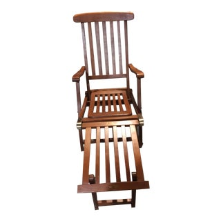 Early 20th Century Antique Wood Deck Chair For Sale