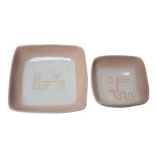 Set of Two Vintage Pale Pink and Gray Abstract Ceramic Square Dishes by Glidden For Sale