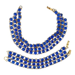 Antique Gilt Gold Sapphire Blue Faceted Glass Choker Necklace / Bracelet Set For Sale