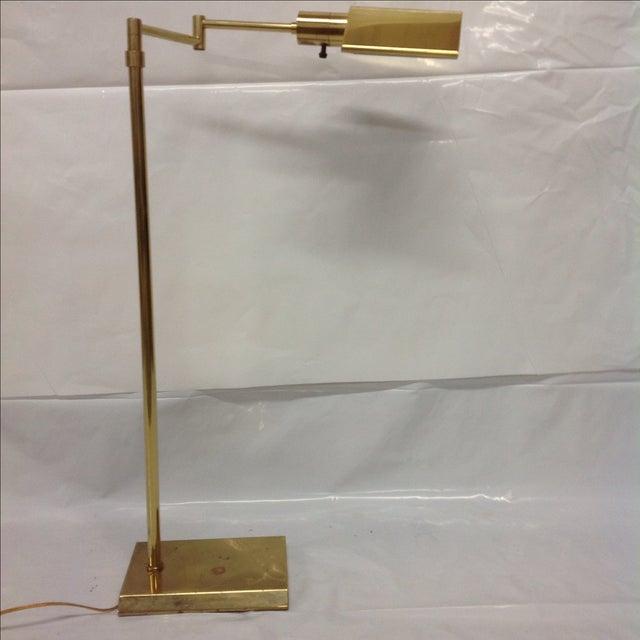 Walter Van Nessen Brass Swing Arm Floor Lamp - Image 2 of 5