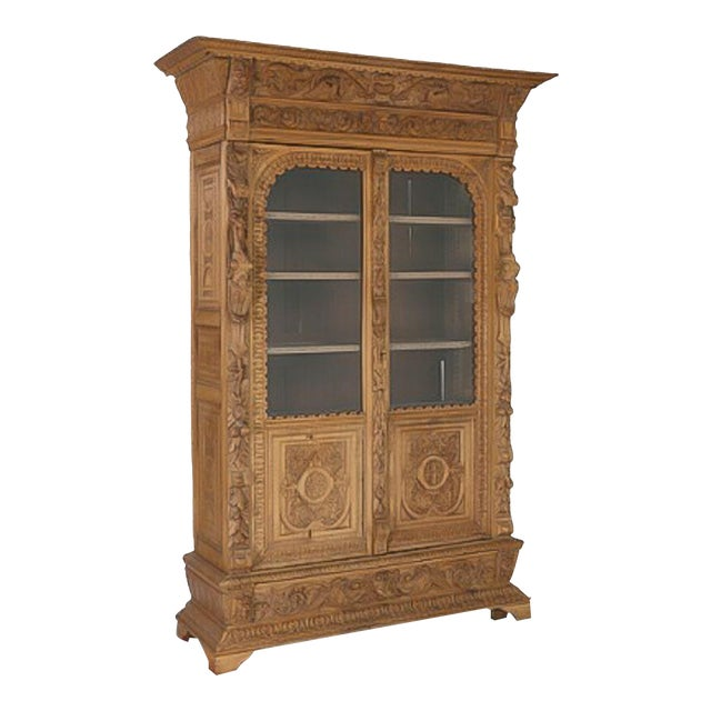19th Century Antique Carved Renaissance Oak China Cabinet For Sale