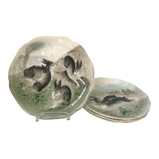 Higgins & Seiter French Majolica Bunny Plates - Set of 4