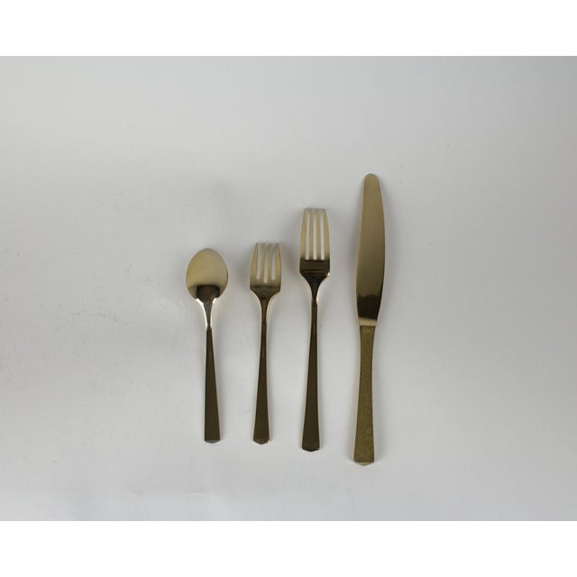 Mid - Century Brass Dirilyte Empress Flatware- Service for 12 For Sale - Image 9 of 13