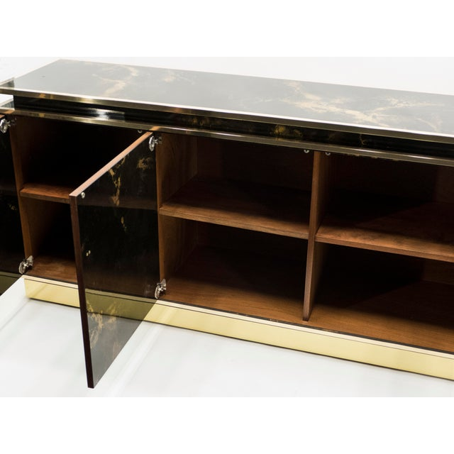Rare Golden Lacquer and Brass Maison Jansen Sideboard 1970s For Sale - Image 11 of 13