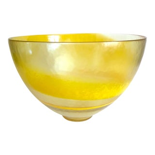 Vintage Mid Century Modern Italy Yellow Ombre Swirl Extra Large Murano Art Glass Centerpiece Bowl For Sale
