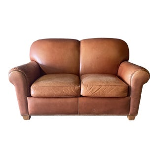 Vintage Hancock and Moore Leather Love Seat For Sale