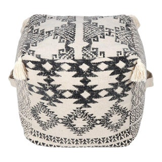 "Modern 18"" Square White and Black Pouf For Sale"