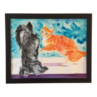 'Did You Notice Me?' Cairn Dog and Ginger Cat Painting For Sale