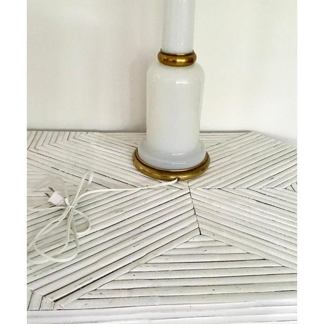 Metal 1950s Warren Kessler Nyc White Milkglass Opaline Table Lamp For Sale - Image 7 of 12