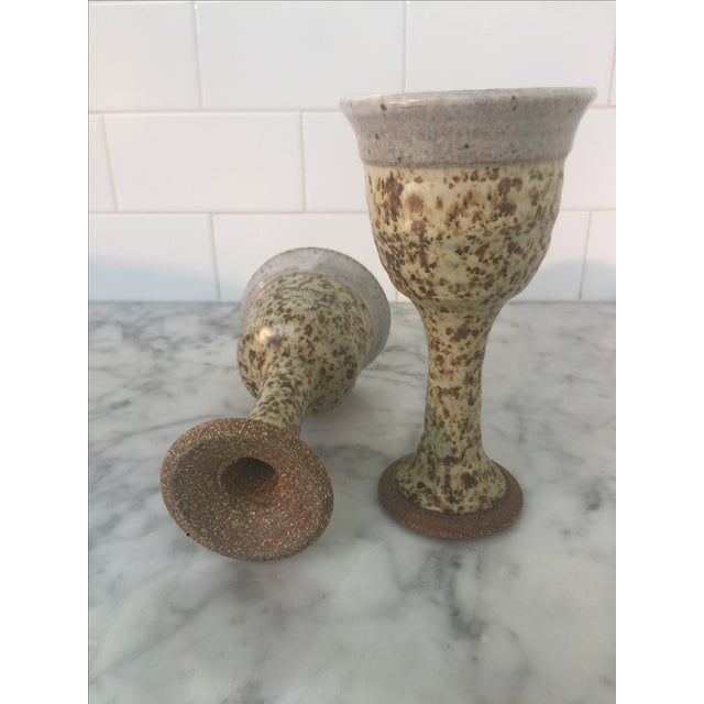 Mid-Century Brown Chalice/Goblets Pottery - Pair - Image 5 of 5