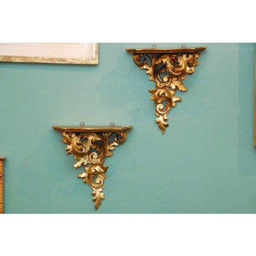 Early 20th Century 20th Century French Carved Gilded Wall Shelves - a Pair For Sale - Image 5 of 6