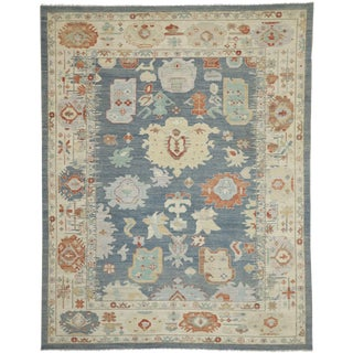 Contemporary Oushak Design Transitional Area Rug - 10′ × 12′8″ For Sale