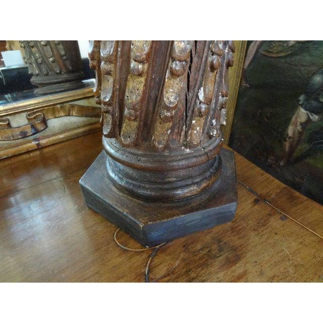19th Century 19th Century Italian Giltwood Corinthian Column Table Lamp For Sale - Image 5 of 11