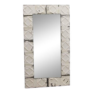Antique White Tin Ceiling Diagonal Squares Pattern Mirror For Sale