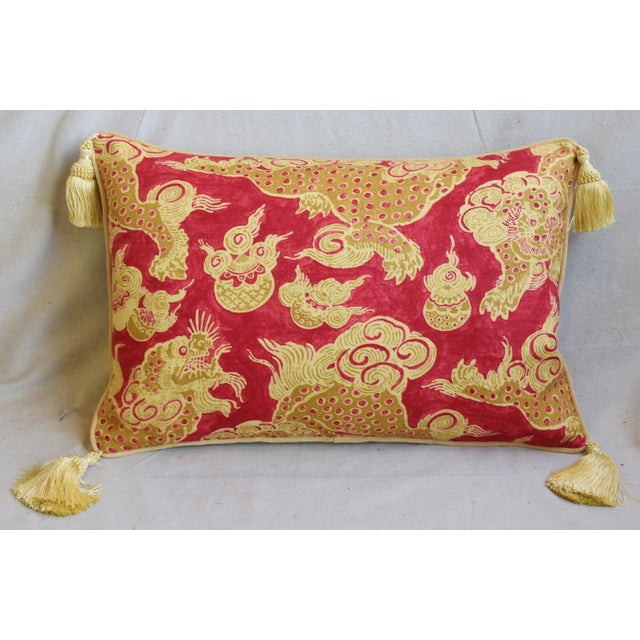 "Chinoiserie Chinoiserie Dragon Tasseled Feather/Down Pillows 26"" X 18"" - Pair For Sale - Image 3 of 13"