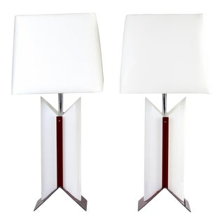 Pair Vintage Modernist Atomic Red and White Table Lamps For Sale