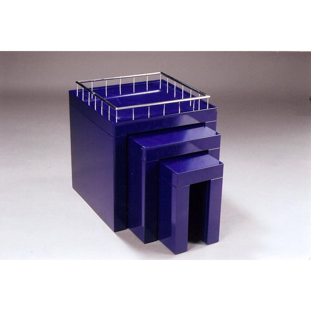 1970s Marco Zanini Memphis Group Blue Enameled Steel Nesting Tables - Set of 3 For Sale In New York - Image 6 of 6