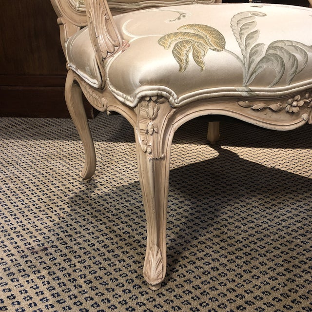 French French Louis XV Style Polychromed Faiteuils -A Pair For Sale - Image 3 of 10