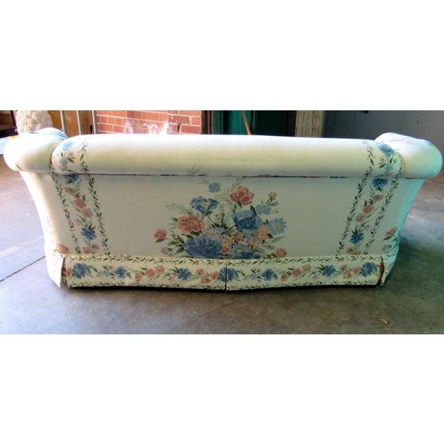 Sherrill Furniture Sherrill Furniture Small Sofa Custom Upholstered in Designer Floral Pattern For Sale - Image 4 of 8
