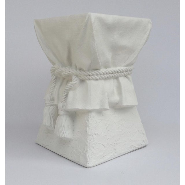 John Dickinson Attributed Draped Plaster Side Table Pedestal For Sale - Image 10 of 11