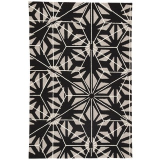 Jaipur Living Haige Indoor/ Outdoor Geometric Black/ Gray Area Rug - 7′6″ × 9′6″ For Sale