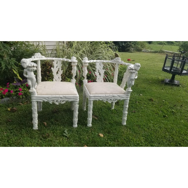 Spectacular French carved Faux Bois chairs that can be configured into a settee, Tete a tete chair or separate and flank a...