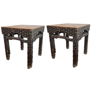 18th Century Chinese Elmwood Side Tables - a Pair For Sale