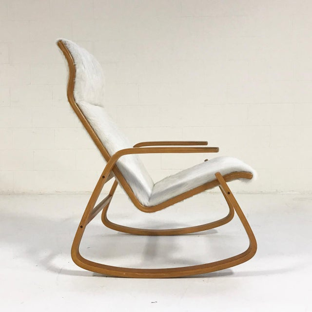 Danish Modern Forsyth One of a Kind Westnofa Of Norway Rocking Chair In Ivory Brazilian Cowhide For Sale - Image 3 of 6