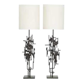 Pair of Floor Lamps in Wrought Iron Circa 1965 by Marcello Fantoni For Sale