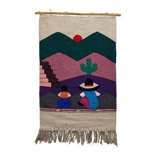 1970s Vintage Handwoven Landscape Macrame Wall Hanging For Sale